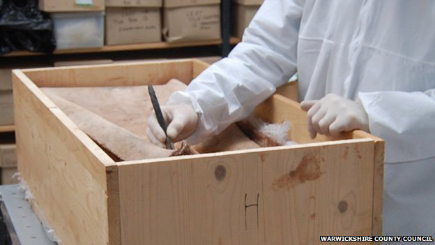 Scientists said early analysis showed the top of the coffin was full of clay silt. Photo: Warwickshire Country Council.