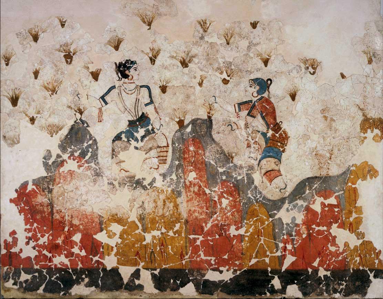 Crocus gatherers. Wall-painting from Akrotiri, Thera.
