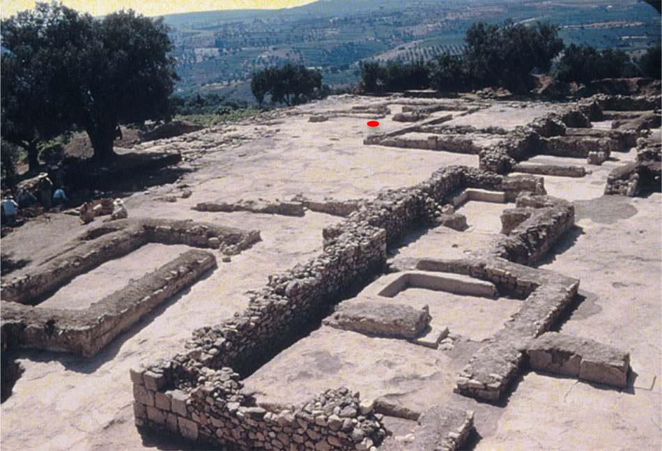 """The Palace of Nestor with Hall 64 where the wall-painting of the """"Pylian fleet"""" has been found (Blegen excavation photo)."""