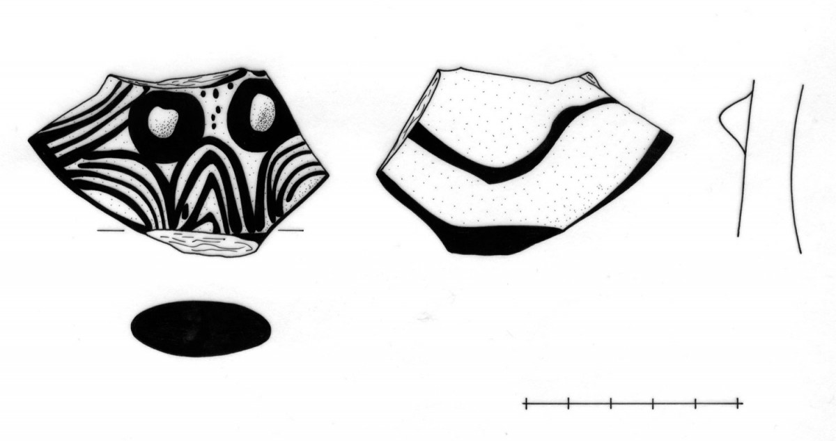 Fig. 6. Fragments of an anthropomorphic figurine from a trench at the NW part of the islet (Sector Γ).