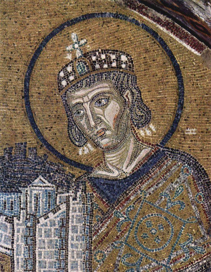 Constantine the Great, mosaic in Hagia Sophia, Istanbul (detail).