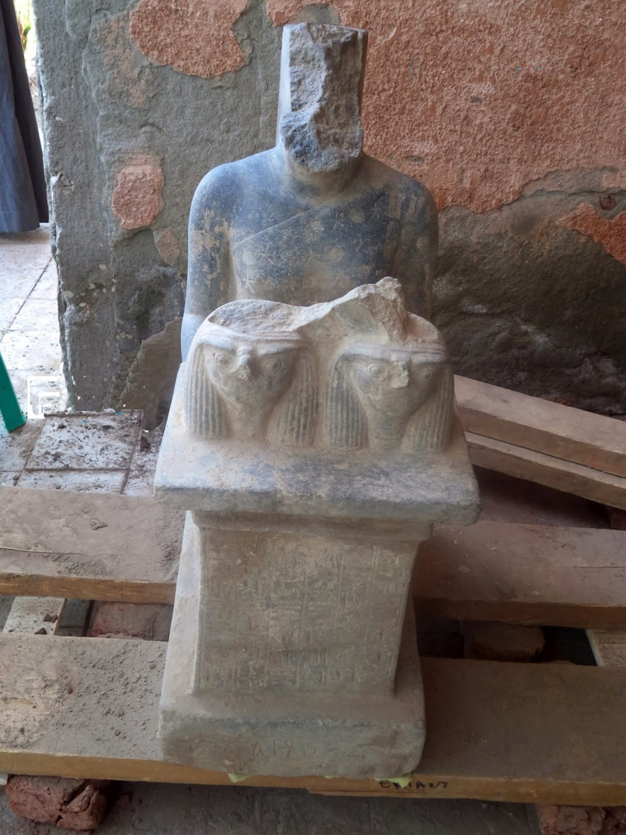 Ramesside statue of High Priest. Armant, Temple of Montu. Photo: Luxor Times.