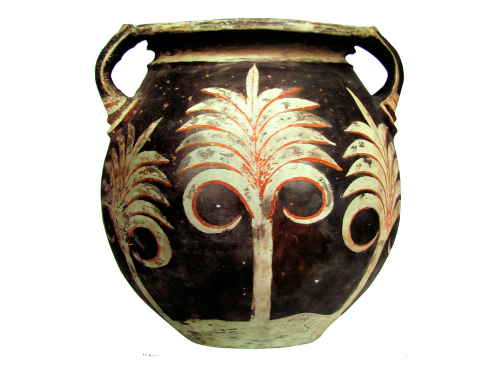 Fig. 2. Small pithos with white palm trees on a black background. Knossos, end of Old Palace period (Δημοπούλου-Ρεθεμιωτάκη 2005, p. 257).