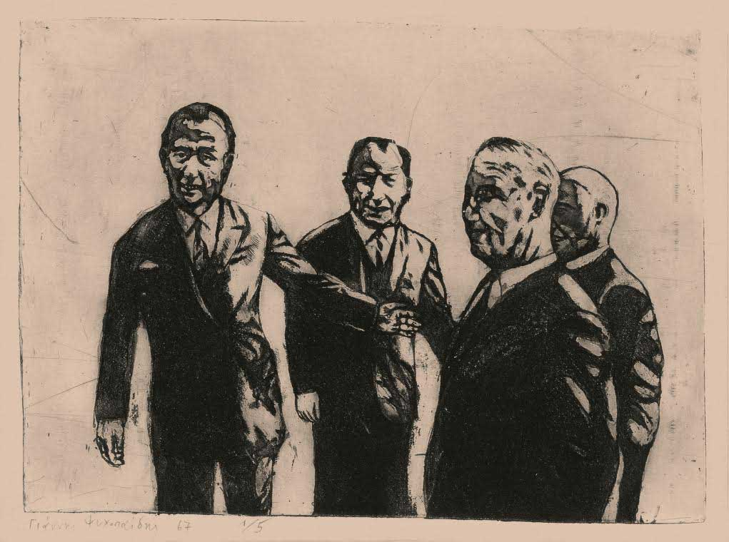 Official visit, 1967. Etching and aquatint.