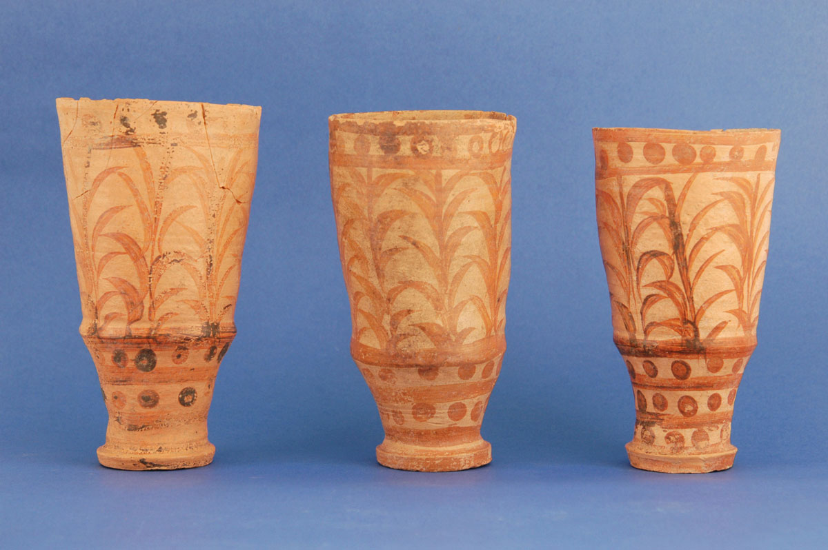Fig. 11. Three conical chalices – rhyta with straw patterns found in a niche in Room 15.