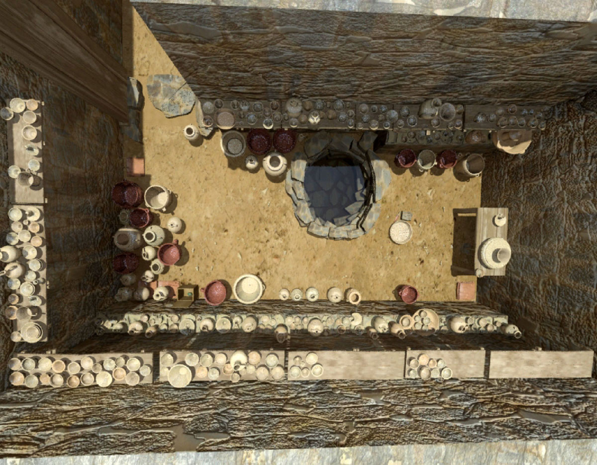 Fig. 8. Reconstruction of the ceramics workshop (Room 13) (reconstruction by C.Papadopoulos).