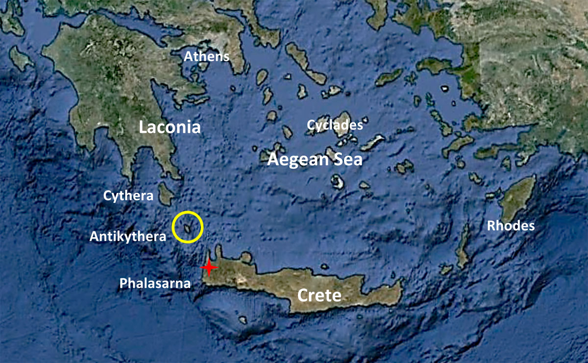 Fig. 1. The location of Antikythera in the sea passage from the Aegean Sea to the western Mediterranean Sea provided it with exceptional strategic significance (figure from Google Earth).