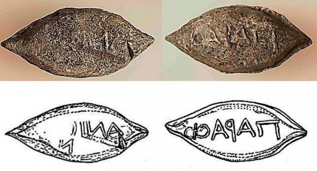 Fig. 40. One of the two sling bullets found inside the fort with the inscription ΠαραΦ / ανίων (from the Phalasarnians) without traces of use. This was found in a layer that is dated to the first half of the 3rd century BC.