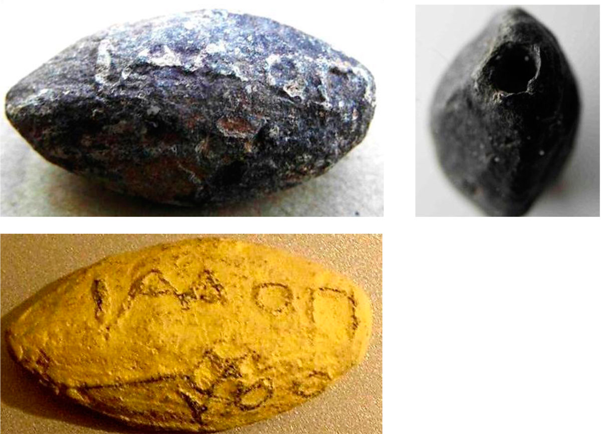 Fig. 42. Views of an unused sling bullet found inside the fort with the inscription of the name Ποδαίθου (Podaethos in the genitive) and a caduceus (The sling bullet was found inside the fort, in 1962 and was given to the Archaeological Service by Mr. Dim. Artemes). Podaethos lived in the 2nd century BC and was officer in Lato, a city in eastern Crete with official deities Hestia and Hermes. The finding of sling bullets with this inscription confirms Phalasarna's alliances in the wars between Cretan cities. In the right figure a small hole is visible, 6mm long and 2mm in diameter, which was probably meant to be filled with poison. (The figure below shows a plaster cast of the sling bullet, where the letters and the symbolic caduceus can be more easily discerned).