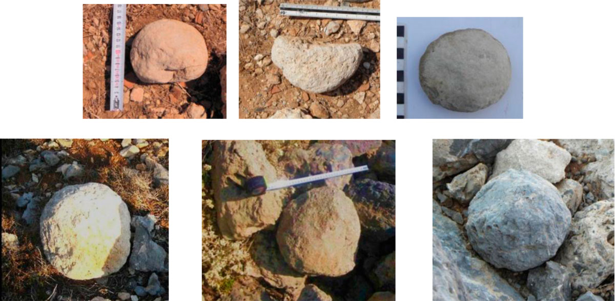 Fig. 43. Catapult stones have been found scattered in the whole area of the citadel. The catapult stones of the first line shown here are small and they are all broken which means that they were thrown to the fort by the attackers. It seems that the attacking artillery transported by boats, preferred, due to that, to use lighter catapult stones. This is reasonable because more artillery weight would increase the boat's cargo.