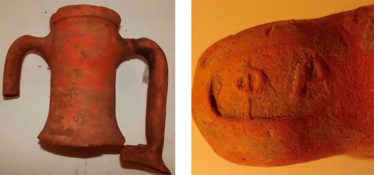 Fig. 46. View of an amphora neck from the city of Phalasarna. Among the findings are three handles with the stamp ΦΑ, the first two letters of the name of the city that produced the amphorae and the containing products.