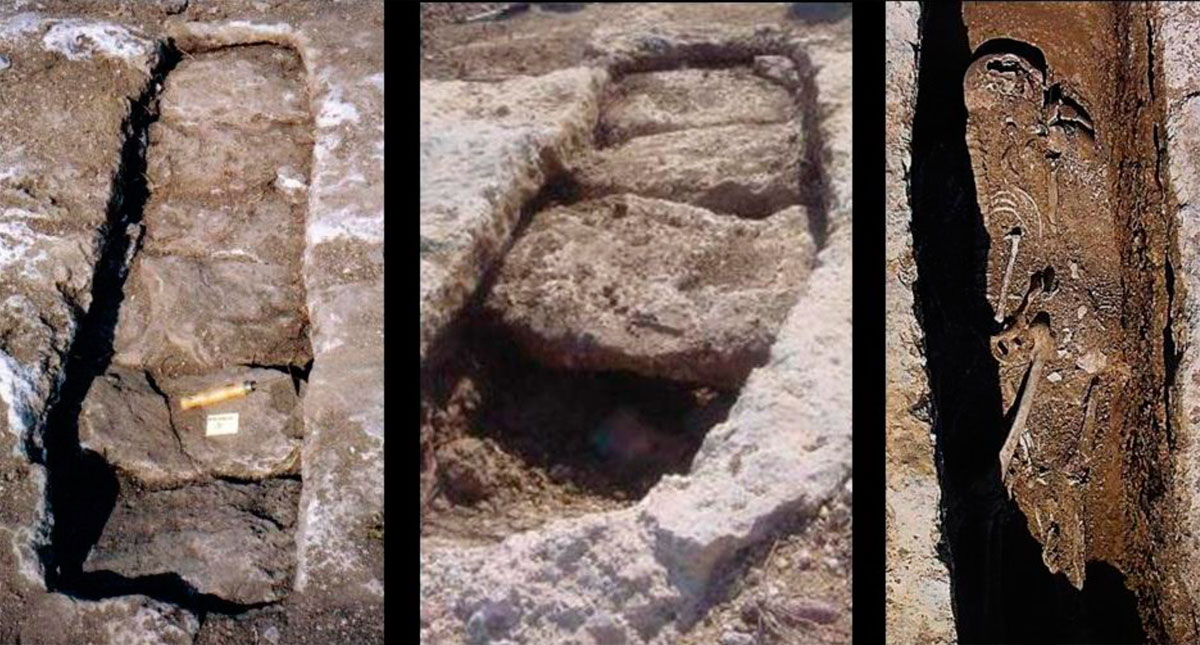 Fig. 48. Views of graves located at the early Christian settlement of Charchaliana. They are dated to the 7th century AD. The graves were not organized in cemeteries, but in clusters in the wider area of each family's house. Every grave contained more than one deceased, and the bones of previous burials had not been removed. Characteristic is the way of covering the graves, with stone slabs that were placed in a horizontal channel and were sealed with a stone wedge. They did not contain any offerings. The few metallic objects found inside the graves belonged to the clothing or jewelry worn by the deceased.