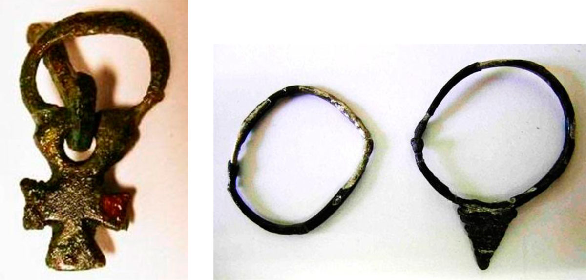 Fig. 49. View of part of a bronze clasp and silver earrings dated to the 7th century AD. They were found in graves at Charchaliana.