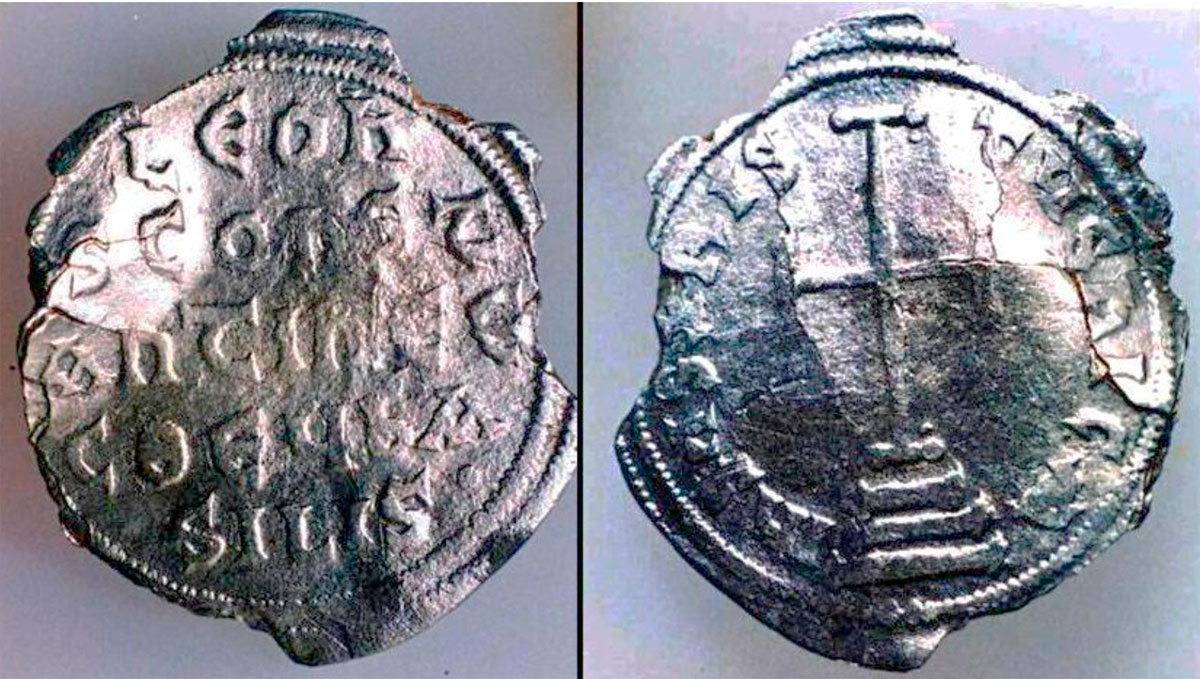 Fig. 50. Silver coin from the era of Leo IV – called Chazaros (775-780 AD) found in the area of Aghios Myros, located in the middle of the island (The coin was found in 1962 by the tireless walker and researcher of all the islands and shores located in the south-western Aegean, Adonis Kyrou, who has given to the Archaeological Service a large numbers of coins and sling bullets he found on the island of Antikythera). No other evidence of habitation of that period is testified and it is very likely that the coin was lost by Arab pirates, who were ravaging the southern Aegean region since the middle of the 8th century AD.