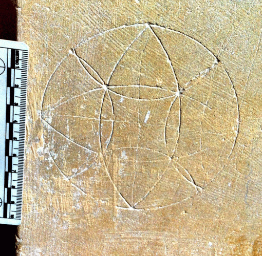 Compass drawn design connected with apotropaic use, from Bedingham church in South Norfolk. Photo courtesy Norfolk Medieval Graffiti Project.