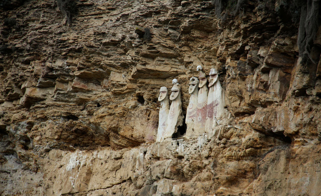 Chachapoyas sarcophagi, Utcubamba valley, Peru.  Image: worldsurfr (Flickr).