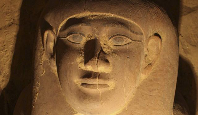 Egyptian mummy anthropoid sarchophagus lid (detail, face area). Archive photo, Reuters.