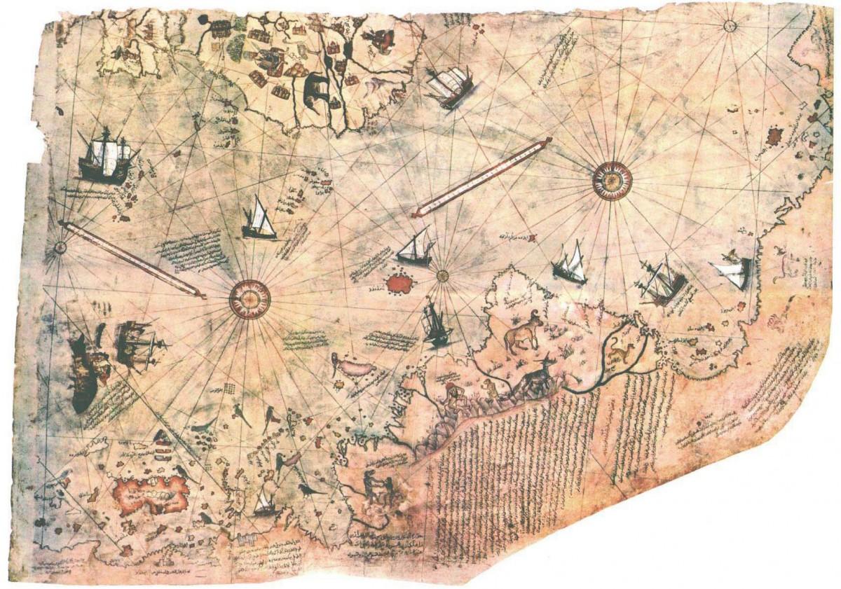 World map made by Piri Reis (1513). Gazelle skin, 900×600 inch.