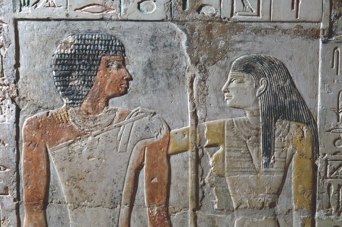 Kahai and Meretites in an eternal embrace. Saqqara, chapel of Kahai and his family, 5th Dynasty, around 2420 B.C. - 2389 B.C.Credit: Photo by Ms. Effy Alexakis, copyright Macquarie University Ancient Cultures Research Centre.