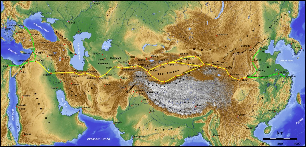 The Silk Road. Source: Wikimedia Commons.