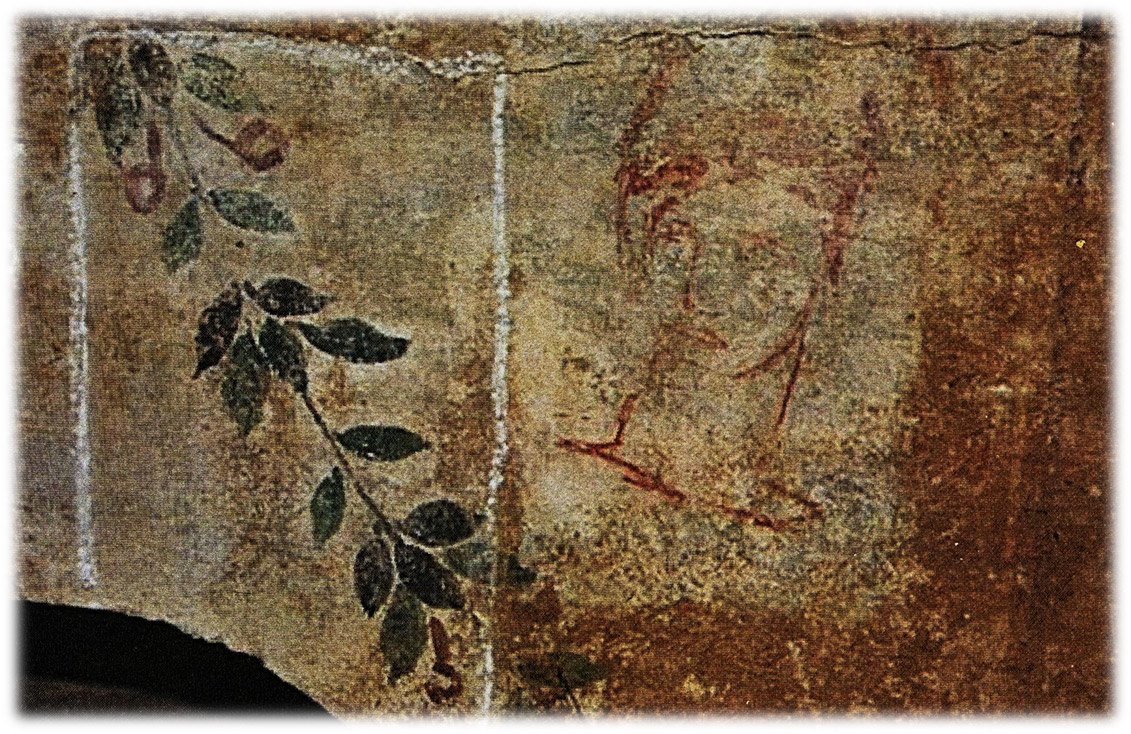 Human face and plant motif. Funerary fresco (detail) from a st-2nd c. tomb. Corinth.