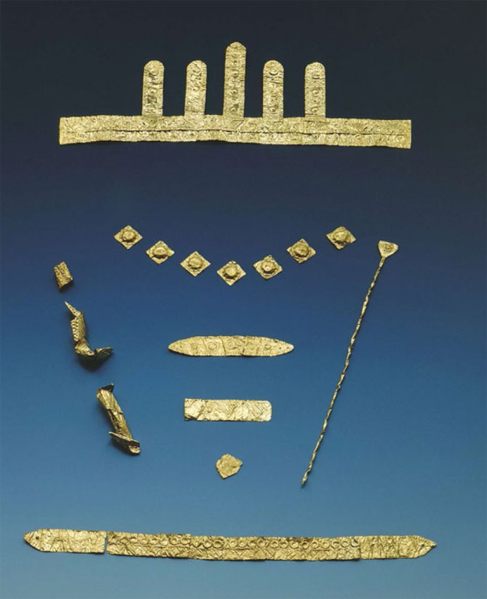 Gold  treasure of vaguely Aegean appearance found in the fortified citadel of Bernstorf.