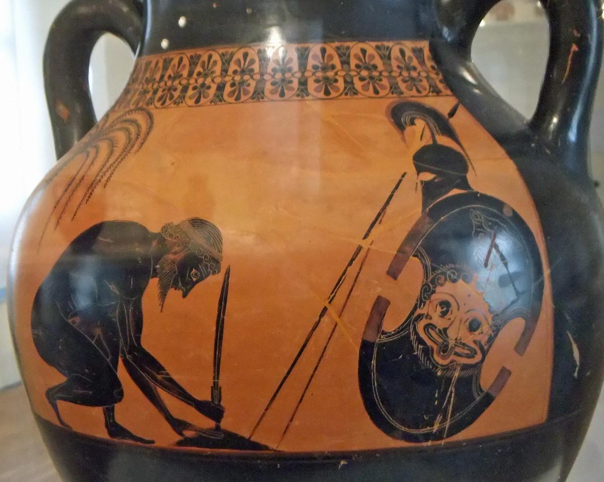 Ajax prepares to commit suicide. Black figured decoration on amphora. Painted by Exekias, c. 530/527 BC. Château-musée de Boulogne-sur-Mer. Photo: Wikimedia Commons.