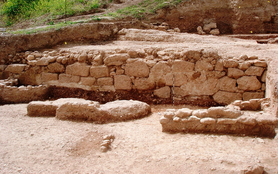 Fig. 16: Trapeza: Retaining wall which also formed the south wall of a building.