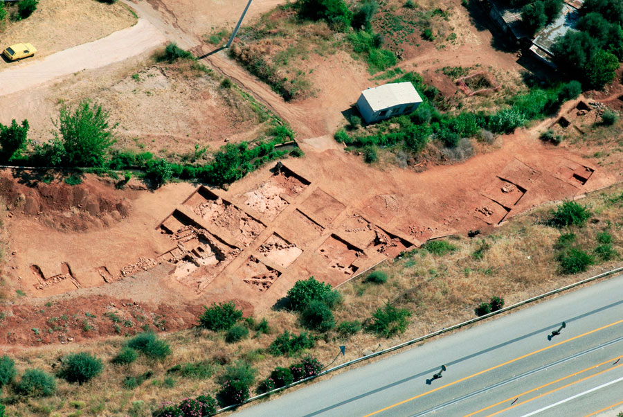 Fig. 9. Aerial view of the Mycenaean settlement at Nikoleika.