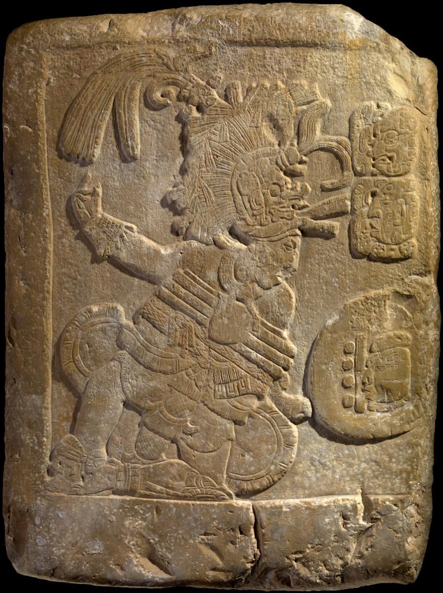 Panel showing male royal figure. Maya Culture, classical period (c. 250-900 AD). Peten, Guatemala. Photo: Hispanically Speaking News.