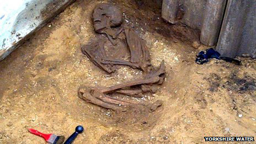 Skeleton found in Norton-on-Derwent, UK. Photo: Yorkshire Water.