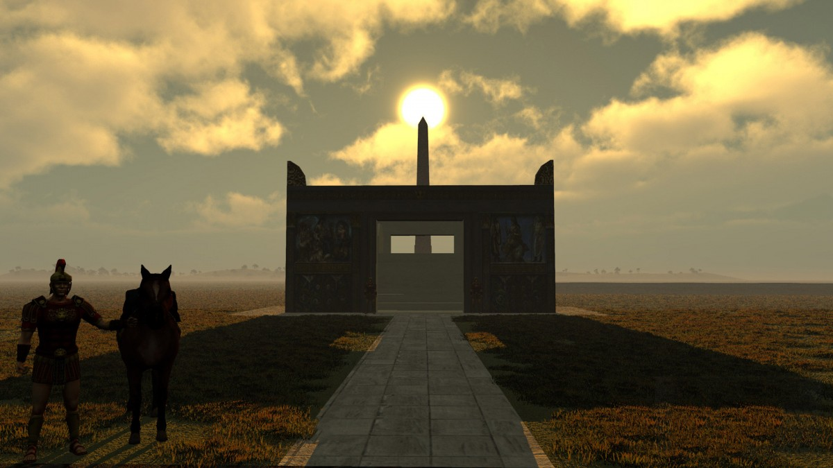 Virtual simulation image of the sun atop the obelisk with the Ara Pacis in the foreground. Image: IUB