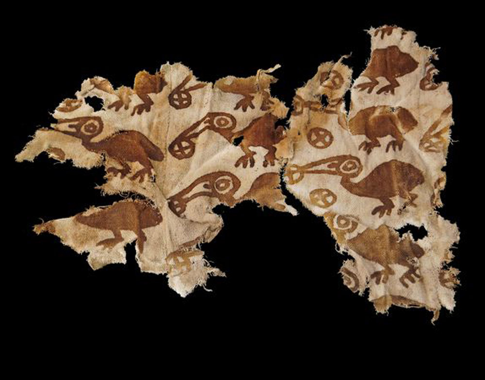 Piece of cloth used as a shroud for a Chimú individual. Peru, 15-16 c. AD. Photo: by Matthew Helmer,/NGS.