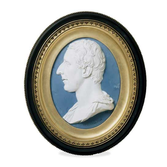 Jasper ware portrait plaque of Sir William Hamilton, by Josiah Wedgwood I and Thomas Bentley, Etruria factory, Staffordshire, England, AD 1779.