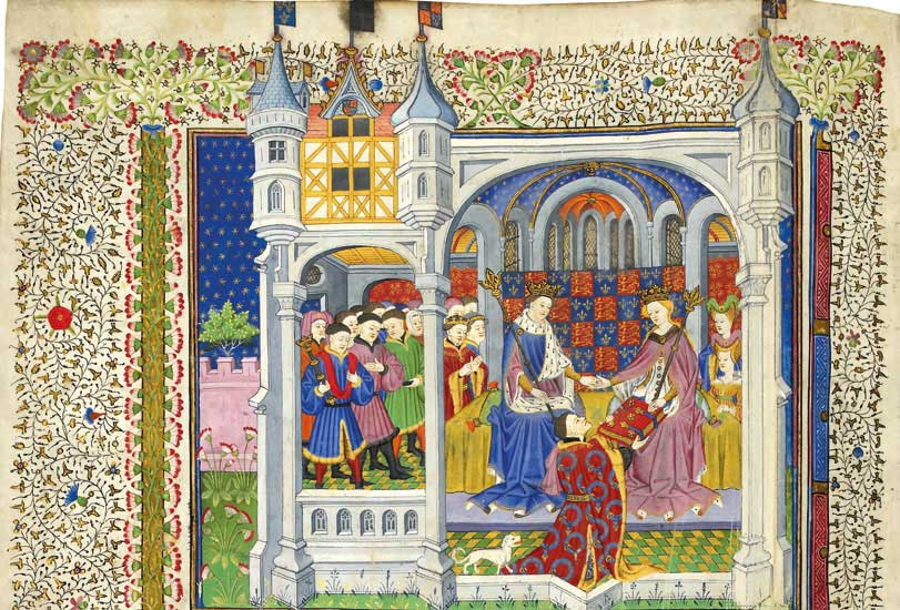 The Shrewsbury Book was a gift to Margaret of Anjou from John Talbot, 1st Earl of Shrewsbury. Margaret is shown with her husband Henry VI.  The Shrewsbury Book, Rouen, 1444–45, British Library, Royal 15 E. vi, ff. 2v