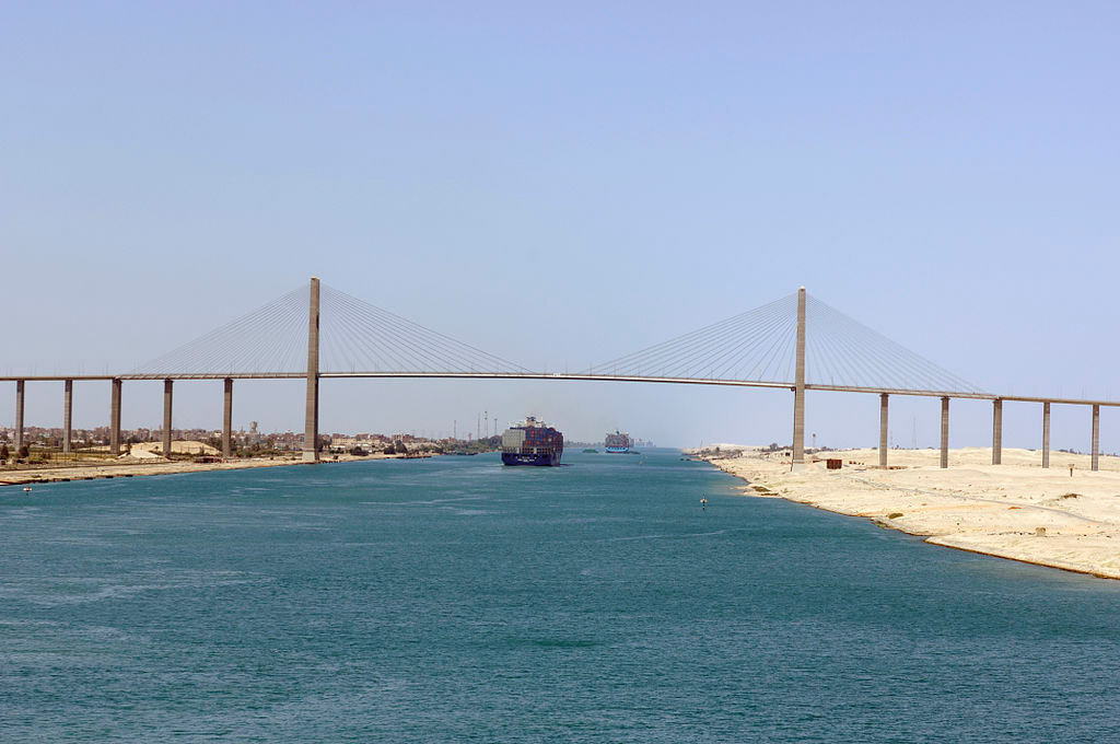 The Suez canal at Qantara, near Ismaileya, Egypt.