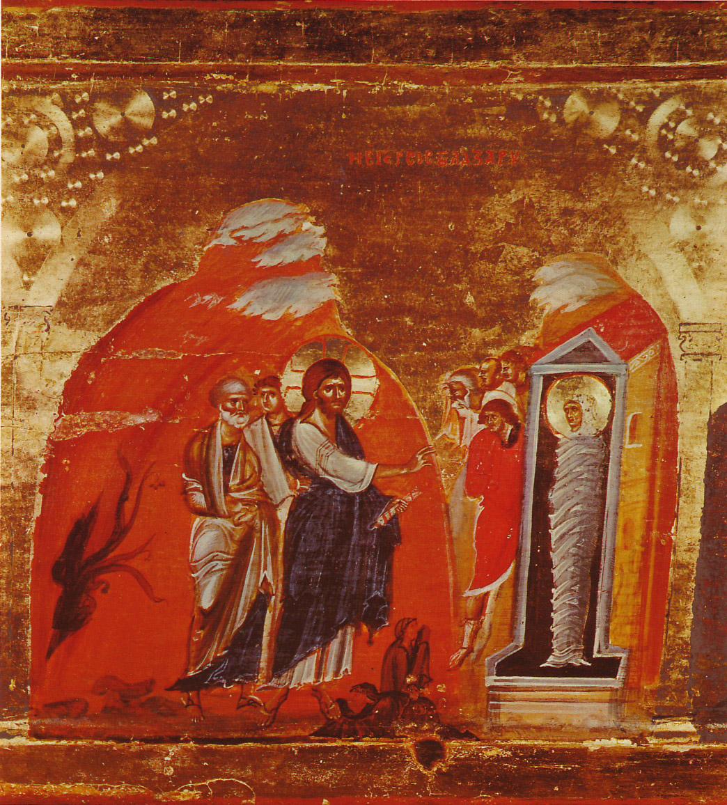 The Resurrection of Lazarus by Jesus Christ, 13th c., Mount Sinai Monastery, Egypt. Image: Wikimedia Commons.