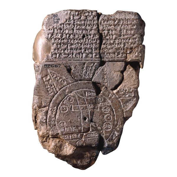 Map of the world. Clay tablet inscribed in cuneiform. Babylonian, 700-500 BC. British Museum. Source: The British Museum.