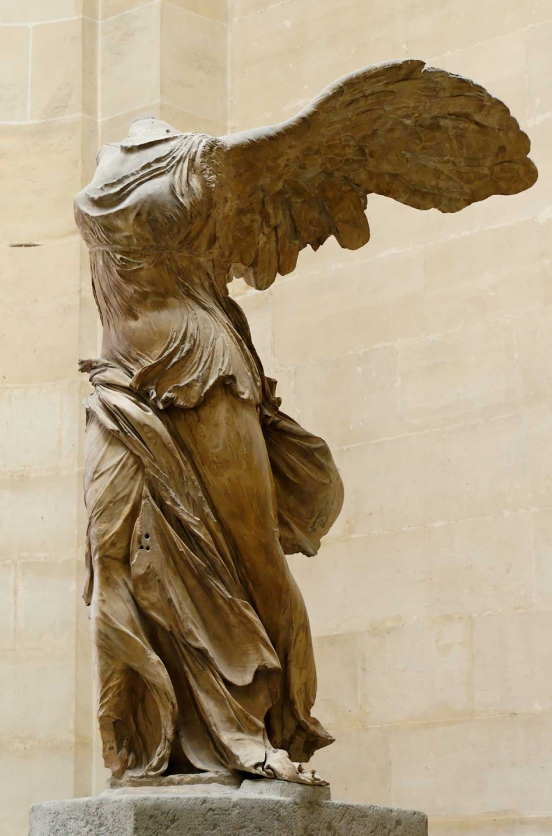 The Nike of Samothrace in the Louvre Museum in Paris.