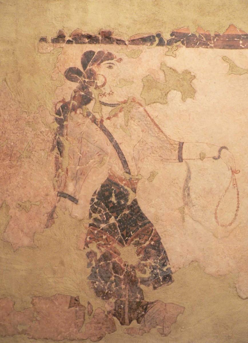 Woman with necklace. Theran fresco. Akrotiri.