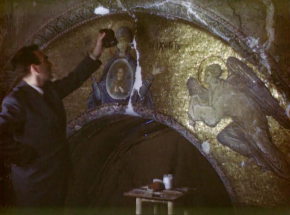 Pierre Iskender measuring the light during filming in the Kariye Camii, September 29, 1948.