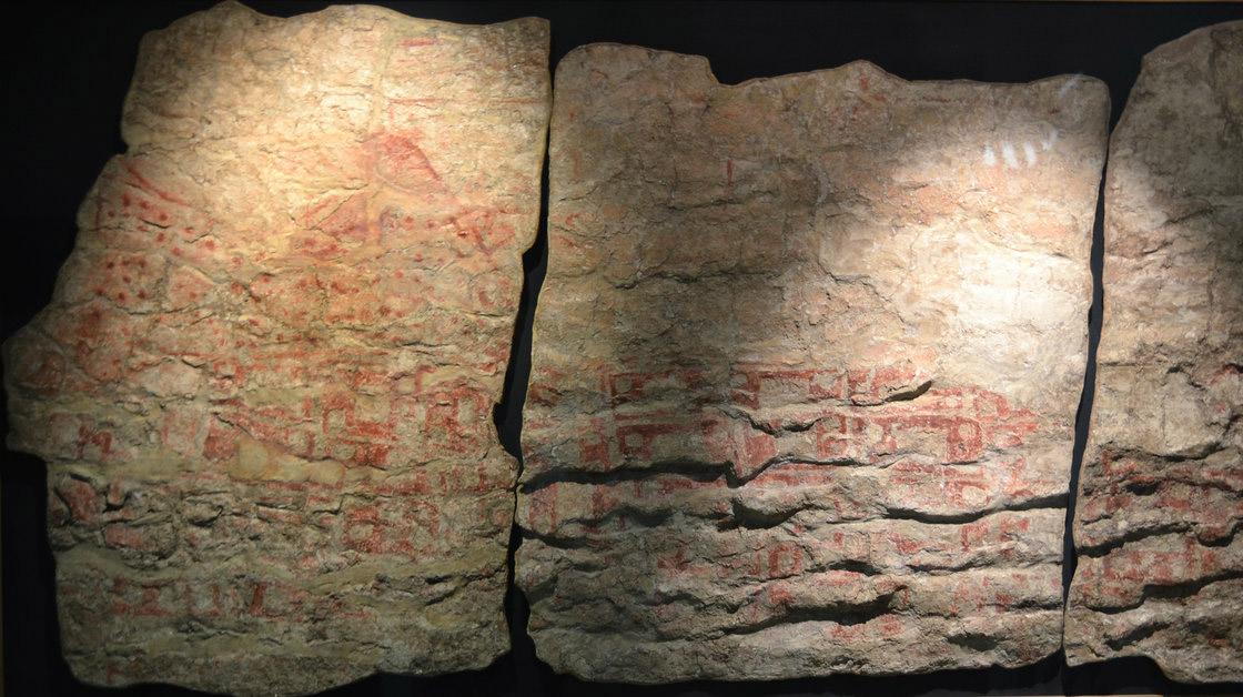 Mural depicted settlement under twin picked mountain. Çatalhöyük, Turkey.