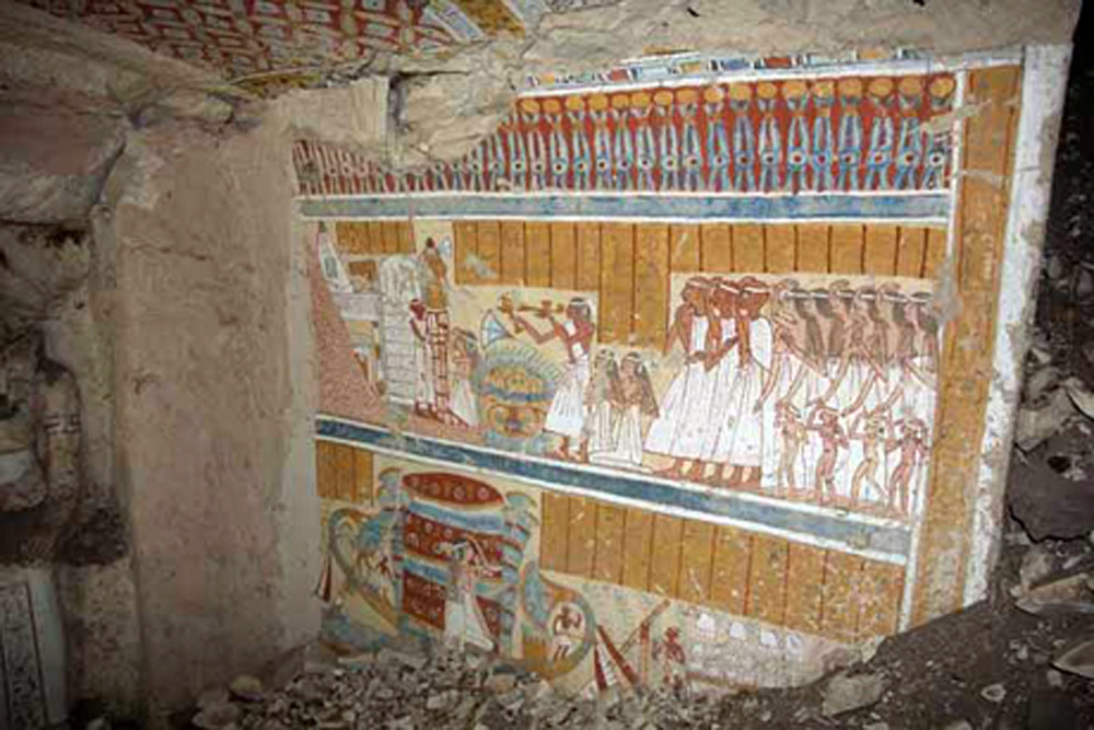 Funerary scene in the tomb of Khnonsu im Heb. Ramesside period, Luxor, Egypt.