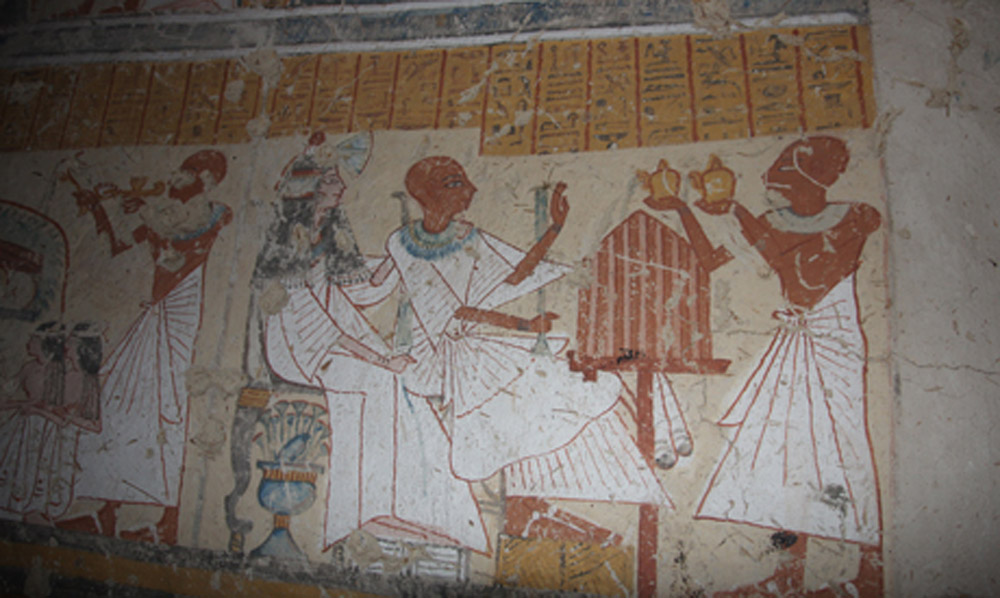 Scene from the tomb of Khonsu im Heb. Ramesside period, Luxor Egypt.