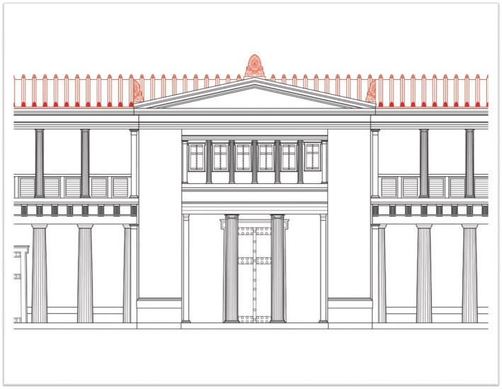 Aigai, the Palace's main entrance. Drawing. Source: aigai.gr