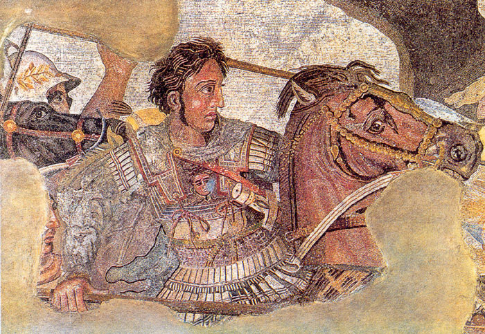 Detail of the Alexander Mosaic, representing Alexander the Great on his horse Bucephalus, during the battle of Issus.