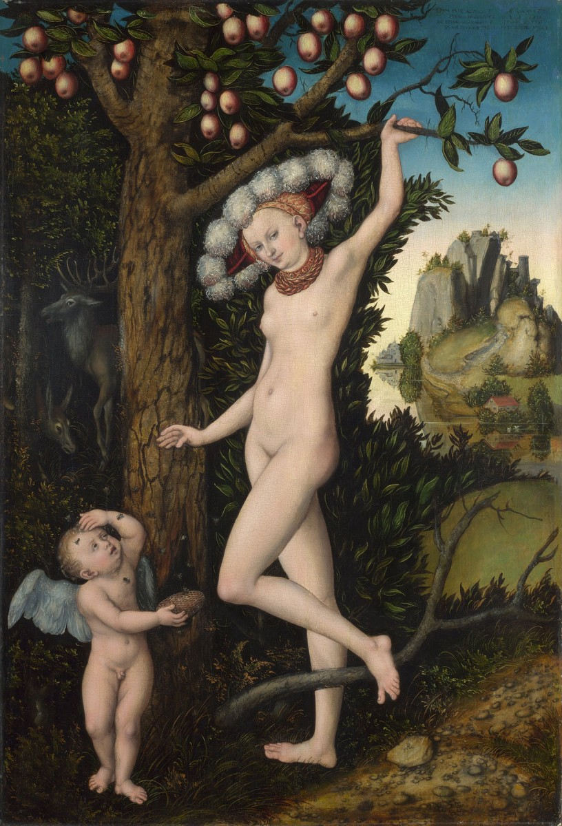 "Lucas Cranach the Elder, ""Cupid complaining to Venus"", about 1525. Oil on wood."