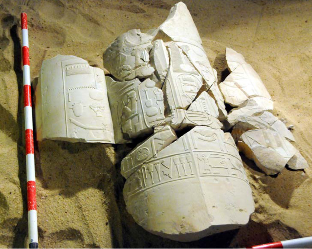Set of cartouches recording the name and preanomen of Amenhotep IV. Tomb of Vizier Amenhotep-Huy in Asasif, Egypt. Photo: MSA.