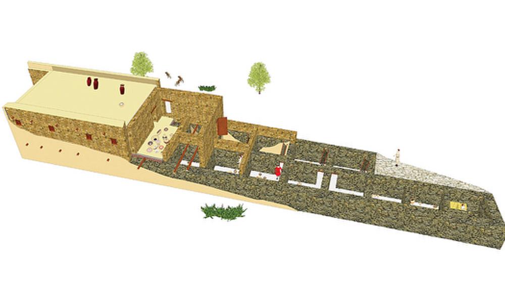 Three-dimentional representation of a building associated with the Philistines. Tell Abu al-Kharaz, Jordan, c.1100 BC. Photo: University of Gothenberg.