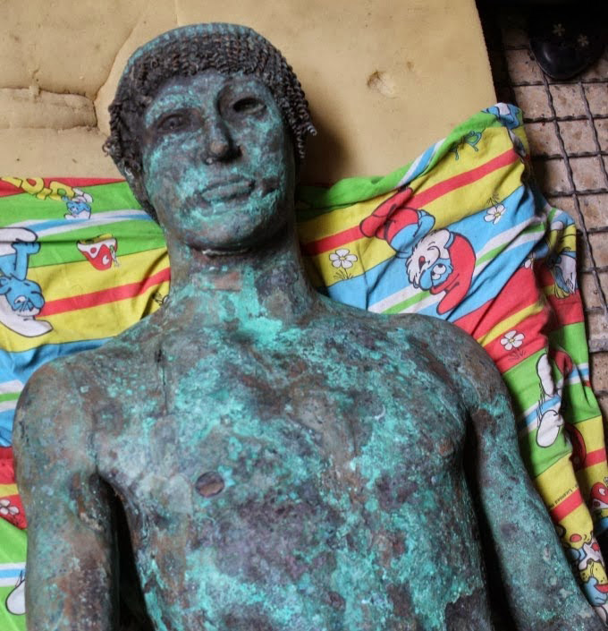 The bronze statue allegedly found at sea off Gaza. Photo: Reuters.